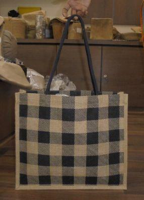 Laminated Natural Jute Bag with Black Rope Handle