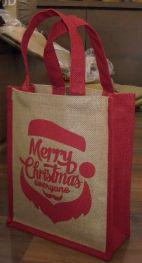 Laminated Natural Jute Bag with Red Dyed Gusset