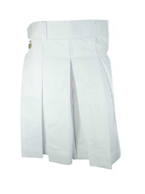 Girls White School Skirt