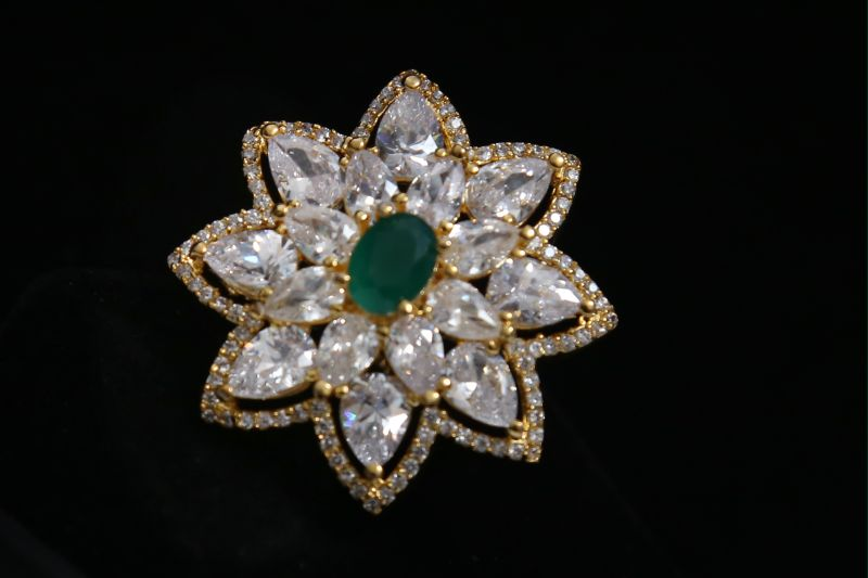 Green Stone Floral Ring
