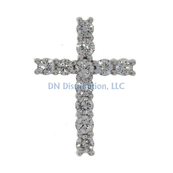 1.00ct Diamond & 18KT White Gold Cross Religious Pendant