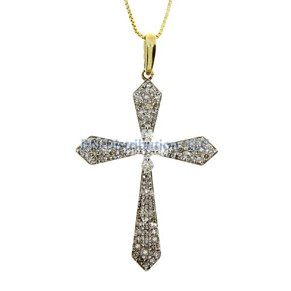 .33 Ct Diamond & 10KT Yellow Gold Cross Religious Pendant