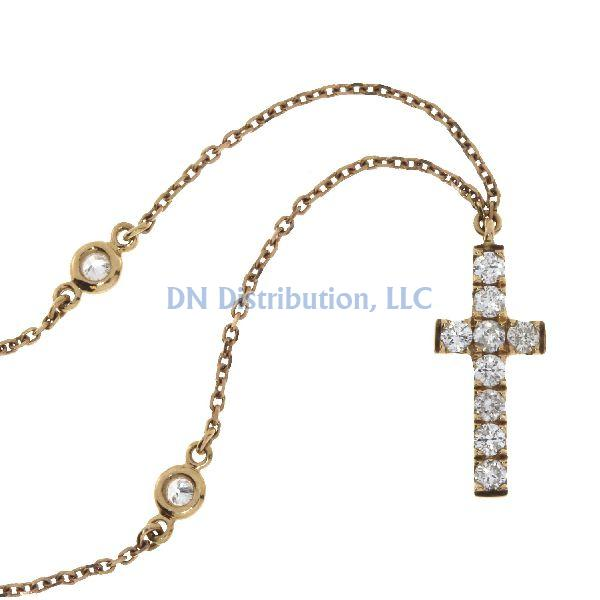.20 Ct Diamond & 18KT Rose Gold Cross Religious Pendant