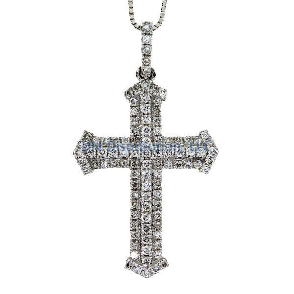 .33 Ct Diamond & 18KT White Gold Cross Religious Pendant 01