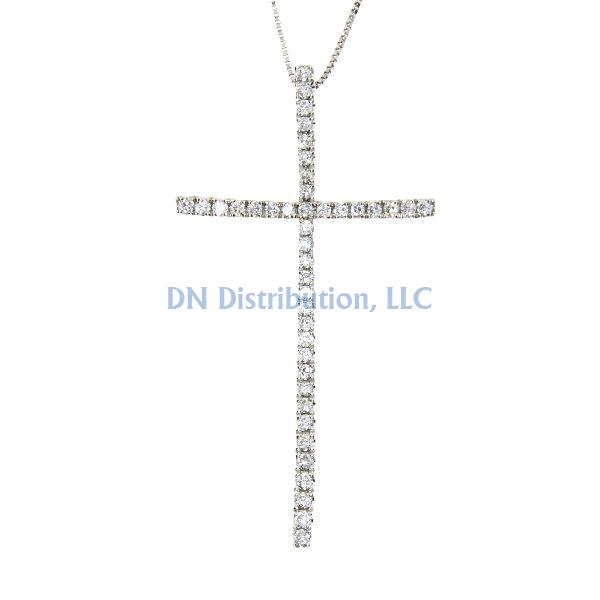 .33 Ct Diamond & 18KT White Gold Cross Religious Pendant 02