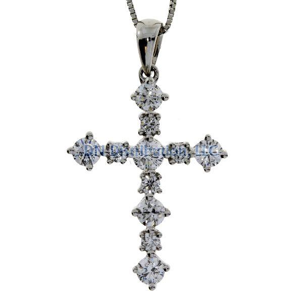 .63 Ct Diamond & 18KT White Gold Cross Religious Pendant