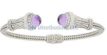 Amethyst Cubic Zirconia  Bangle Bracelet