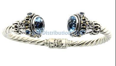 Sterling Silver Blue Topaz Bangle Bracelet