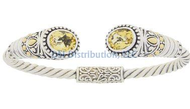 Sterling Silver Citrine Bangle Bracelet