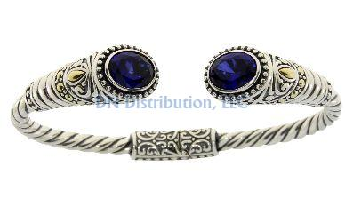 Sterling Silver Created Sapphire Bangle Bracelet