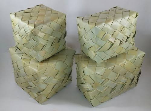 Palm Leaf Square Basket