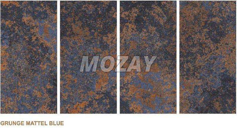 Grunge Mattel Blue High Glossy Glazed Vitrified TIle