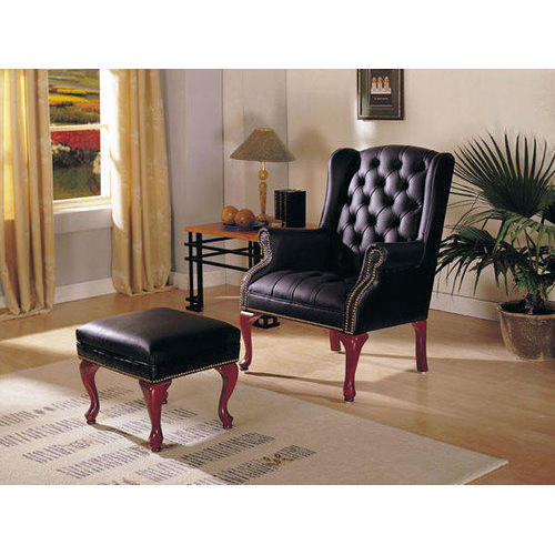 Leather Sofa Chair with Stool
