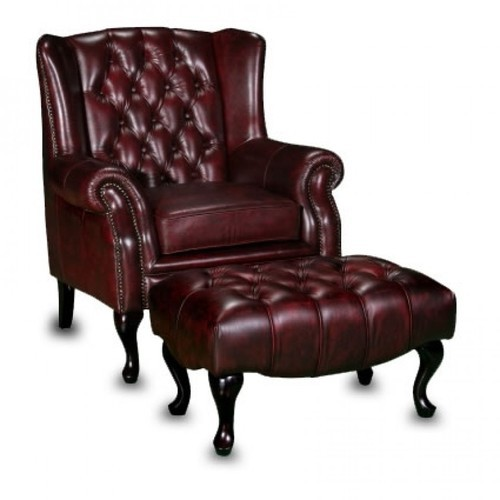 Leather Wing Chair With Ottoman