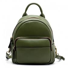 Green Leather Backpack Bag
