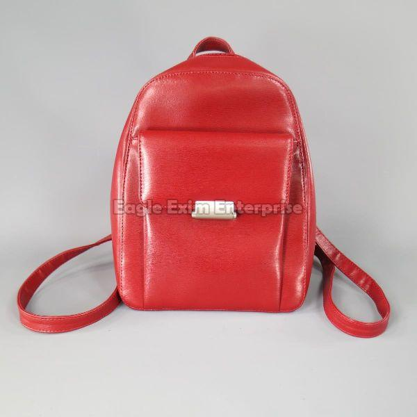 Red Leather Backpack Bag