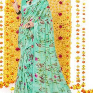 Linen Silk Printed Saree