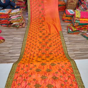 Orange Embroidered Sarees