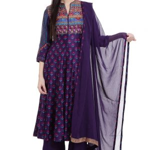 Purple Flared Cotton Dress