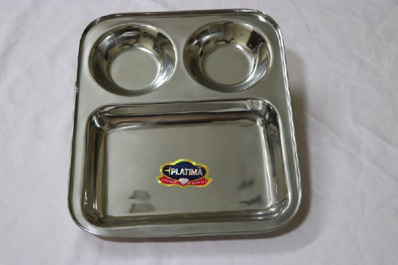Stainless Steel Square 3 Compartment Plates