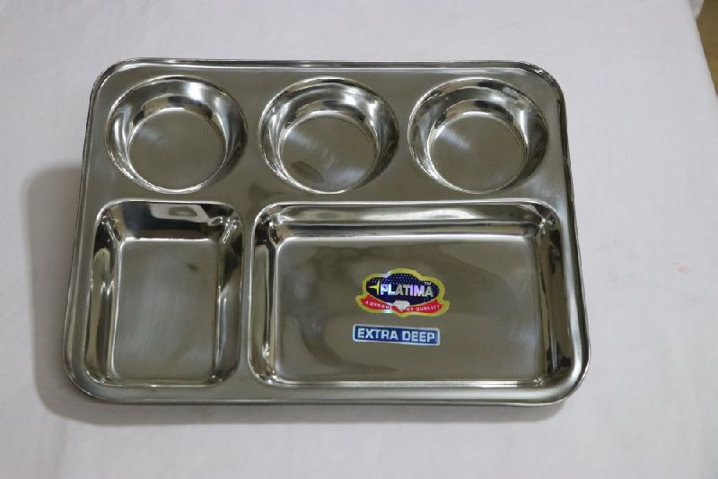 Stainless Steel Square 5 Compartment Plates