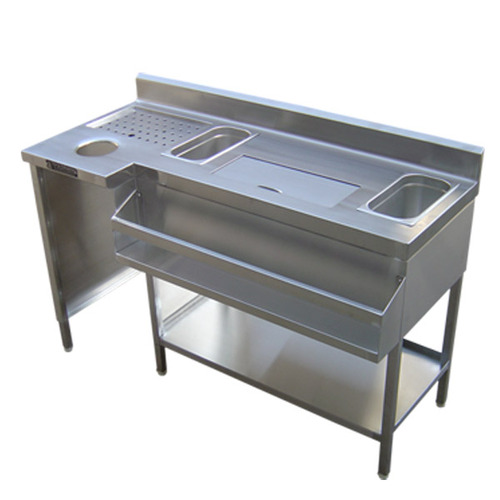 Stainless Steel Cocktail Bar Station with Ice Bucket