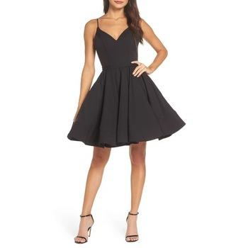 Black V neck sleeveless fit and flare knee length prom dress