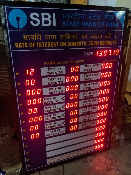 Bank Interest Rate LED Display Boards