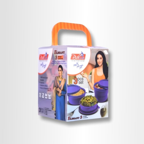 PP Printed Transparent Packaging Box For Pack Of 3 Plastic Containers