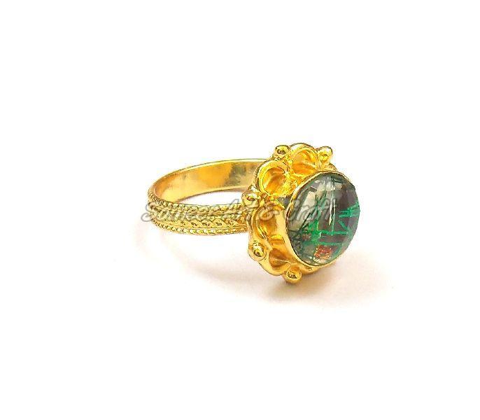 Green Rutile Gemstone Ring