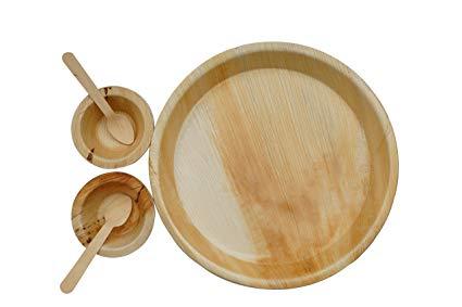 Areca Leaf Round Plate & Bowl Set