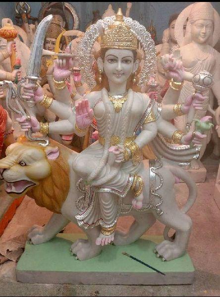 3.5 Feet White Marble Durga Maa Statue