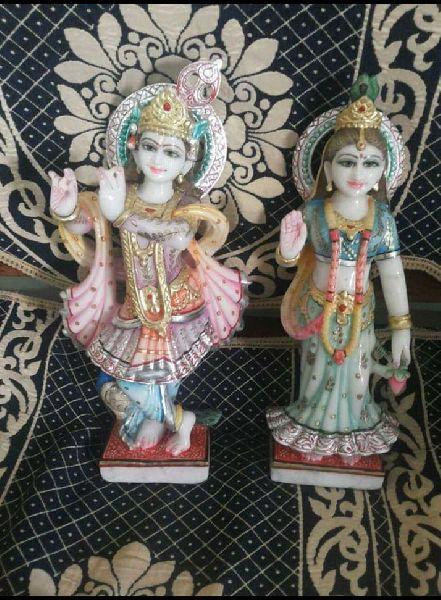 2 Feet White Marble Radha Krishna Statue