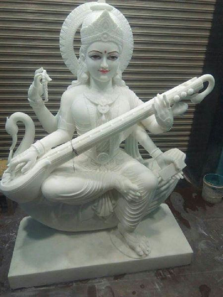 3.5 Feet White Marble Saraswati Maa Statue