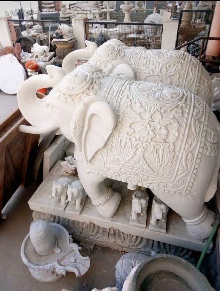 3.5 Feet White Stone Elephant Statue