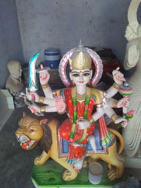 3 Feet White Marble Durga Maa Statue