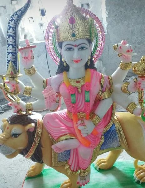 4 Feet White Marble Durga Maa Statue