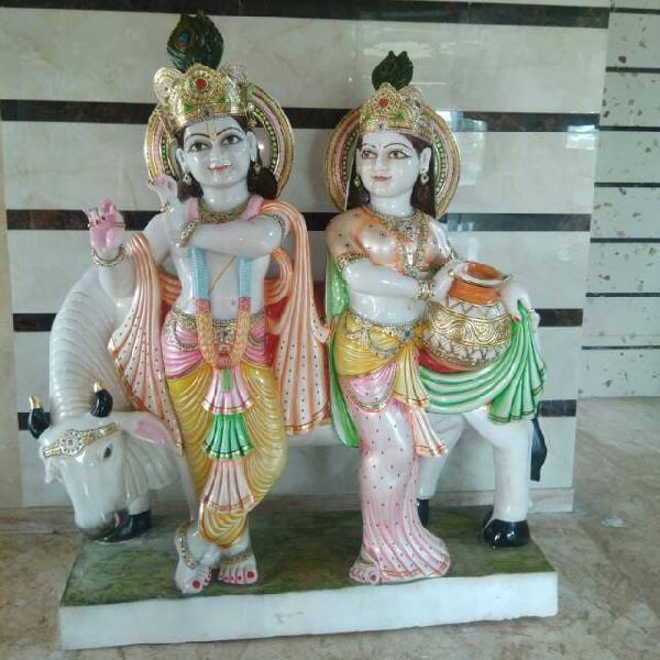 4 Feet White Marble radha Krishna Statue