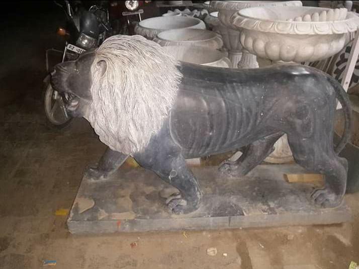 Black Stone Lion Statue