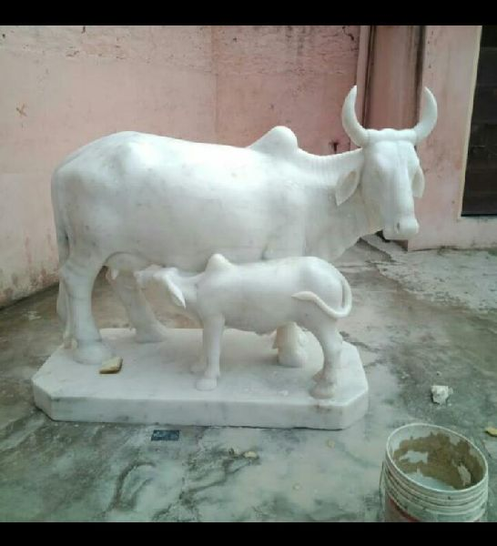 White Marble Cow & Calf Statue