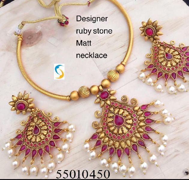 Designer Ruby Stone Necklace Set