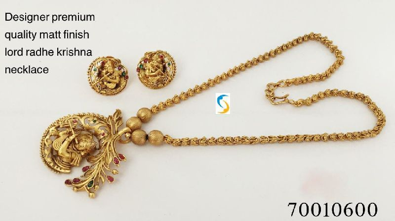 Matt Finish Radha Krishna Necklace Set