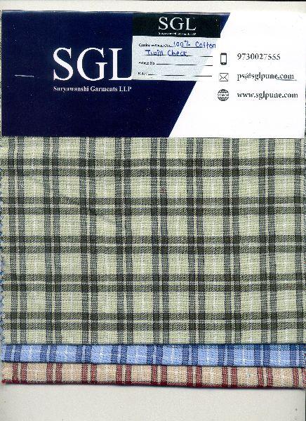 Twill Checks Cotton Fabric