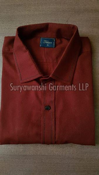 Mens Red Cotton Shirt