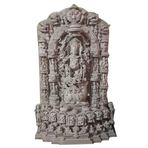 4 Feet Pink Stone Ganesha Khanja Statue
