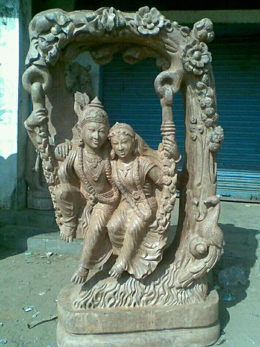 Sandstone Radha Krishna Statue