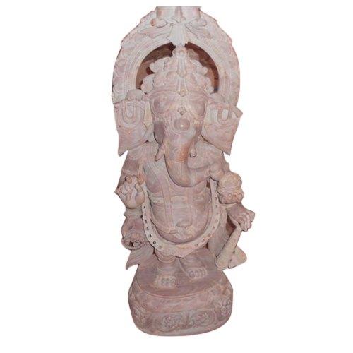 2 Feet Pink Stone Ganesha Statue