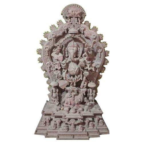 5 Feet Pink Stone Ganesha Khanja Statue