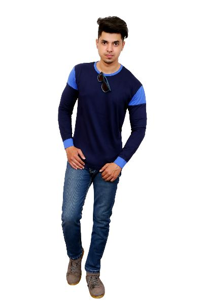 Mens Blue Round Neck T Shirt