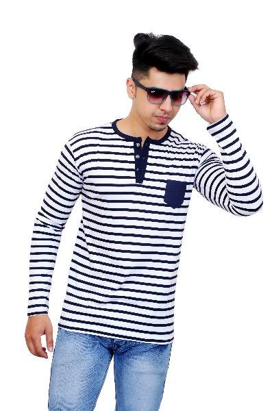 Mens Henley Neck Striped T Shirt